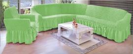 - Чехол на угловой диван, цвет фисташковый