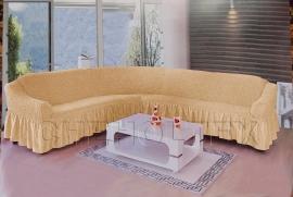 - Чехол на угловой диван, цвет какао