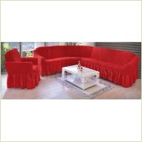 - Чехол на угловой диван, цвет красный
