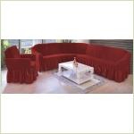 - Чехол на угловой диван, цвет бордовый